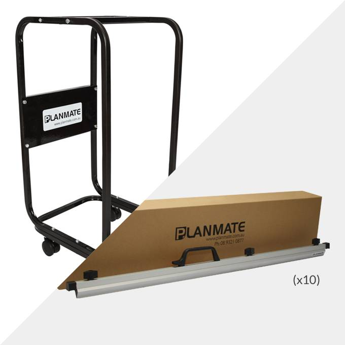 Planmate A0 MINI Plan Trolley and 10x A0 Plan Clamps ( PMB1 )