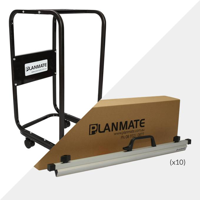 Planmate A1 MINI Plan Trolley and 10x A1 Plan Clamps ( PMB3 )